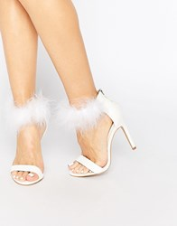 Truffle Collection Helen Furry Ankle Strap Barely There Heeled Sandals White Pu