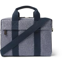 The Workers Club Leather Trimmed Canvas Briefcase Blue