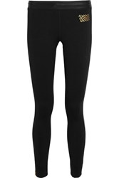 Monreal London Athlete Striped Stretch Jersey Leggings Black