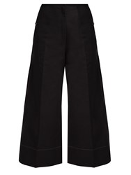 Christophe Lemaire Cotton And Linen Blend Wide Leg Cropped Trousers Black