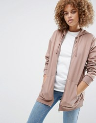 Asos Ultimate Oversized Zip Through Hoodie Mink Pink