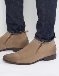 Asos Chelsea Boots In Stone Faux Suede With Zip Detail Stone Burnished