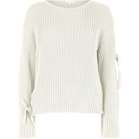 River Island Womens Cream Tie Long Sleeve Knit Jumper