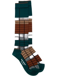 Issey Miyake Long Striped Socks Green