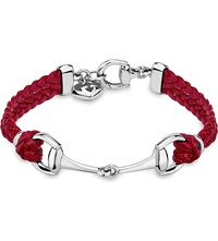 Gucci Horsebit Leather Bracelet Silver