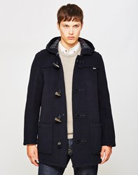 Gloverall Mid Length Check Duffle Coat Navy