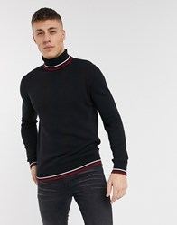 Brave Soul 100 Cotton Roll Neck Sweater In Black