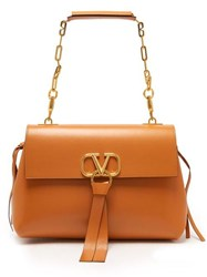 Valentino Go Logo Medium Leather Shoulder Bag Tan