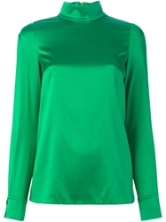 Dolce And Gabbana High Standing Collar Blouse Green