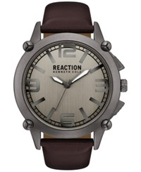 Kenneth Cole Reaction Men's Brown Faux Leather Strap Watch 49Mm 10030947