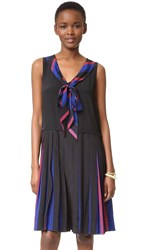 Marc Jacobs Pleated V Neck Dress With Tie Blue Multi