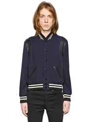 Saint Laurent Wool Gabardine Teddy W Leather Details