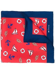 Kiton Sailor Pocket Square Red