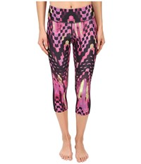Asics Performance Run Printed Capris Eggplant Checkered Print Women's Capri Pink