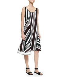 O'2nd Multi Striped Dress W Asymmetric Hem Red
