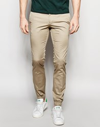 Noak Cotton Trousers In Super Skinny Fit With Cuffed Hem Beige