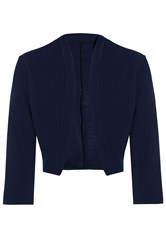 Quiz Navy 3 4 Sleeve Crop Jacket