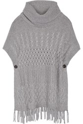 Autumn Cashmere Fringe Trimmed Knitted Sweater Gray