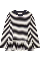 The Great The Baggy Ruffled Striped Cotton Jersey Top Navy