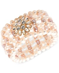 Carolee Gold Tone Crystal And Pink Imitation Pearl Flower Woven Stretch Bracelet
