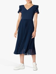 Paul Smith Ps Frill Pleated Midi Dress Navy