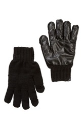Plush Perforated Smartphone Gloves Black