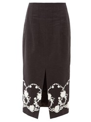 Brock Collection Floral Embroidered Twill Midi Skirt Black