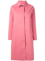 Mackintosh Button Up Hooded Coat Pink Purple