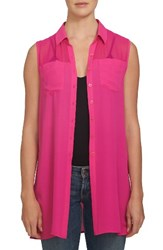 1.State Women's Sheer Yoke Sleeveless Tunic Fuchsia Pop