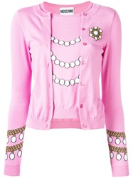 Moschino Pearl Knit Top Cardigan Pink Purple