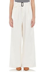 Tomorrowland Twill Wide Leg Trousers White