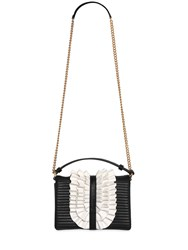 Boutique Moschino Ruffle Faux Leather Shoulder Bag