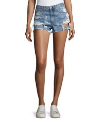 Rag And Bone Justine Destroyed Denim Shorts Indigo