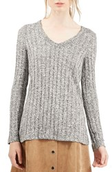 Women's Topshop Ribbed V Neck Sweater