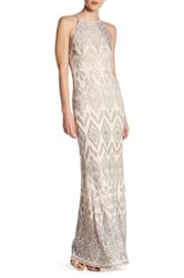 Jump Glitter Pattern High Neck Gown Beige