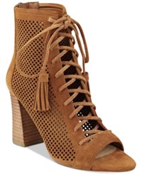 Marc Fisher Shaini Perforated Lace Up Peep Toe Booties Women's Shoes Dark Walnut