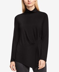 Vince Camuto Side Ruched Asymmetrical Turtleneck Rich Black