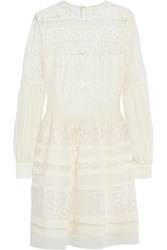 Alice By Temperley Fleur Lace And Georgette Mini Dress White