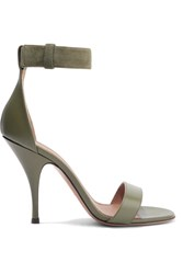 Givenchy Retra Suede Trimmed Leather Sandals Army Green