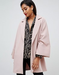 Vila Oversized Coat With Wide Sleeves Abobe Rose Pink