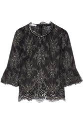 Oscar De La Renta Chantilly Lace Top Black