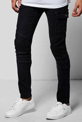 Skinny Fit Biker Jeans With Cargo Detailing