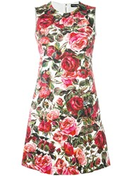 Dolce And Gabbana Rose Brocade Dress Red