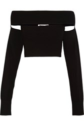 Mcq By Alexander Mcqueen Off The Shoulder Stretch Knit Top Black