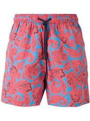 Etro Paisley Floral Print Swim Shorts Red
