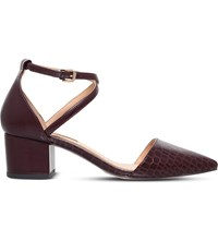 Miss Kg Ava Croc Embossed Court Shoes Wine