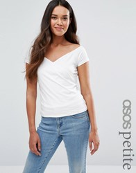 Asos Petite Top With Wrap Front And Cap Sleeves Cream