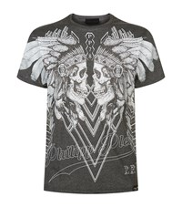 Philipp Plein Dramatic Embellished Skulls T Shirt Male Grey