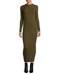 Courreges Long Sleeve Knit Midi Dress Khaki
