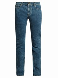 Saint Laurent Wrinkle Effect Mid Rise Skinny Jeans Dark Blue
